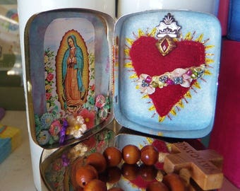 Rosary Keeper Hand Embroidery Detentes Coazon Sacred Heart Immaculate Heart of Mary
