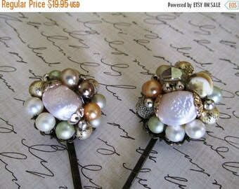 SALE Hair pins Baby Pink  and baby green Vintage Bobby Pins- Set of Two Vintage Re-purposed Clip-On-Earring Hairpins, Flower Bobby Pins, OOA