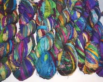 Recycled Sari Silk Ribbon Yarn Tie Dye multi color, 65 yards,3.5 oz / 100 grams