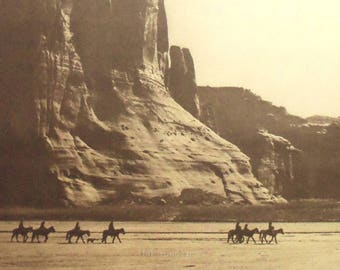 Navajo Canyon de Chelly by Edward Curtis, Large Vintage 14x17 Sepia Book Art Print c1970s-80s, Native American Indian, FREE SHIPPING