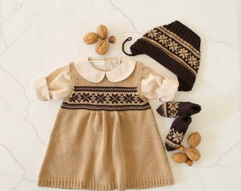 ON SALE Knitted baby dress, cap and socks camel/brown jacquard. 100% merino wool. READY To Ship size newborn