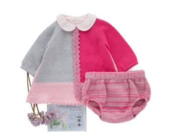 ON SALE Knitted baby dress set, baby dress outfit, homecoming dress, knitted diaper cover, pink, merino wool, baby clothes, knit baby dress,