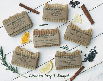 Homemade Soap, Choose any 3 Tea Soaps, Natural Soaps, Gift for Her, Gifts for Women, All Natural Soaps, Handcrafted Soap, Gift ideas for her