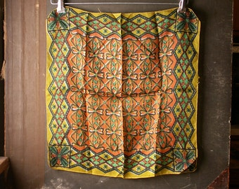 Vintage Boho Silk Handerchief - Yellow Green and Orange Square Scarf