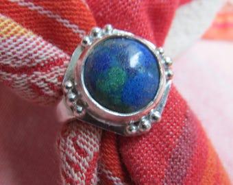 Azurite Malachite Ring in Granulated Sterling Size 8 & a Quarter