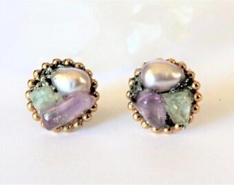 Raw Gemstone Earrings, Raw Crystal Stud Earrings, Raw Stone Earrings, Boho Jewelry, Bridesmaid Gift, Bridal earrings, Bridesmaid Jewelry