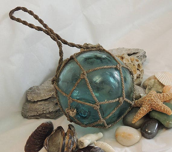 """Vintage 14"""" In Circumference Japanese GLASS FISHING FLOAT.. Full Net & Bubbles (#44)"""