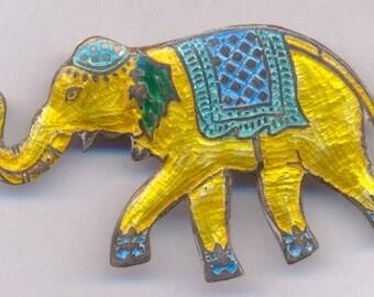 Vintage Sterling Enamel Circus Elephant