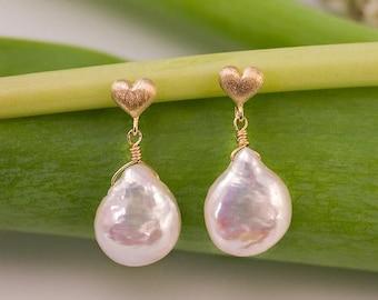 40 OFF - White Pearl Earrings - Gold Earrings - Bridal Jewelry - Pearl Earrings - Heart Earrings- Bridesmaid Jewelry