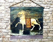 Prancing Unicorn Tapestry, Medieval Dollhouse Miniature, 1/12 Scale, Hand Made