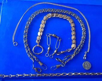 Vintage  Brass watch clips chains