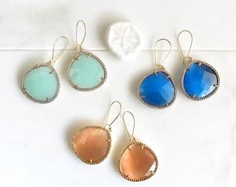 Fancy Statement Earrings in Gold.  Cats Eye Teardrop Earrings. Colorful Statement Earrings. Colroful Rhinestone Dangle Earrings. Drop.