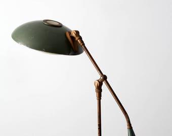 articulating counter balance floor lamp circa 1930, vintage enamel brass lamp