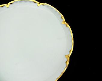 Haviland Limoges Salad Plates, Set of 4, Vintage Ranson Pattern with Gold Trim, Scalloped Edges, Made in France