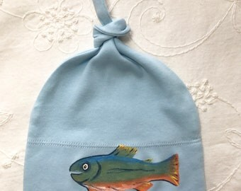 Trout Hat Organic Baby beanie or Hat, Eco Friendly Baby Hat, Baby Beanie, Cute BabyGift, Fun baby present 0-1 years