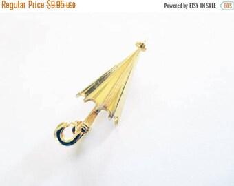 SALE Vintage Umbrella Brooch gold tone Spring Showers~~~