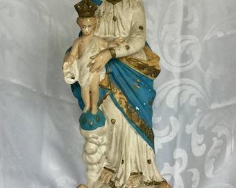 Antique French Madonna Classic Notre Dame des Victoire Statue