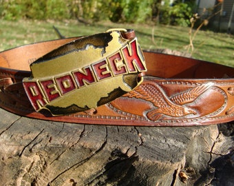 Redneck Belt Buckle by Indiana Metal Craft//1980's//Punk New Wave 80's Style//Southern History//USA Belt Buckle//Funny Belt Buckle//Gag Gift