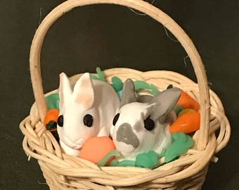 Easter Rabbits in a 1:10 Dollhouse Basket, Polymer Clay sculpture, rabbits