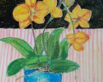Blooming Orchids Original Painting. Floral Art Gift. Wall Interior Decor. Vintage Style .