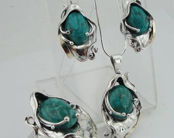 Sterling Silver 925 and 9K Yellow Gold set ring ,pendant and earrings , Handcrafted ,turquoise stone set,(ms 328s)