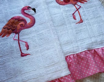 Pink Flamingo Towels, Ruffled Towels, White Kitchen Hand Towel,(s) Home Decor Wedding, Bridal Shower, Anniversary Gift