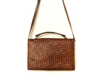 Vintage Snake Leather Purse Bag Shoulder Bag Handbag / Brown / Woven / 60s 70s