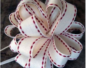 Individual Pull Bows, NATURAL PULL BOW With  Red Stitching, Wedding Favors  Bridal Shower Gift packaging  Sold by the Yard