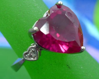 Size 6 Ring Vintage 10mm Heart shaped Ruby? with 2 Diamond Baguettes