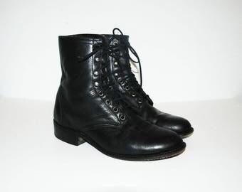 Size US 10 / Vintage Laredo Combat Boots, Lace Ups, Granny Shoes