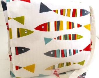 Pilchard Print Oilcloth Mabel Messenger Bag