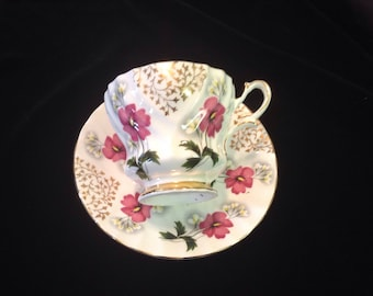 Queen Anne Pink Cosmos Gold Leaves and Green Leaves Decor Bone China Cup and Saucer