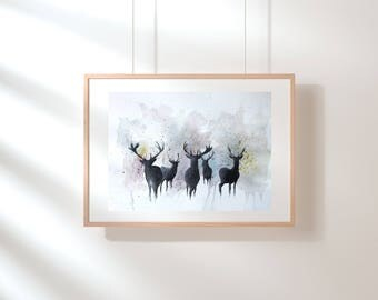 Original watercolour stag painting contemporary dusk wall art wall decor home decor stags nature wildlife british wildlife
