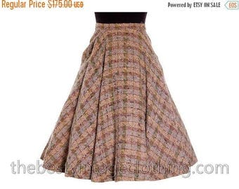 Sale 20% Off Vintage 1940s Full Circle Skirt Wool Tweed Pinks Gray Blums-Vogue Adorable Small