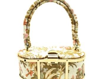 Sale 20% Off Vintage Petite Box Purse Handbag Gold Metal Cage w Tapestry 1950s New Orleans Label
