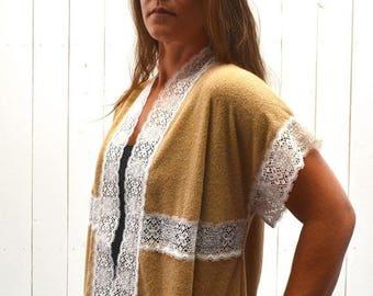 34% Off Sale - Terrycloth Cover Up - 1970s Lace Trim Jacket - Vintage Hippie Boho Beach Shrug - One Size - S M L