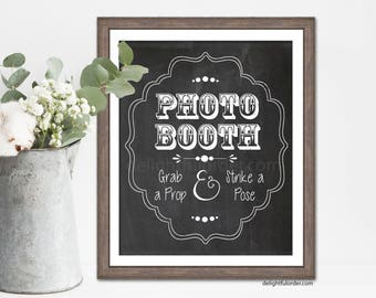 Photo Booth Chalk Like Sign - Photo Booth Sign, Wedding Sign, Party Sign (1) JPEG Printable File - Instant Digital Download