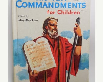 40% OFF NOW Rare 1956 Rand McNally Giant Book: The Ten Commandments for Children, Vintage Illustrated Bible Story Book, Children's Religious
