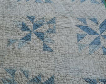 Primitive Blue Pinwheel w/Triangles Quilt-Charmingly Dilapidated-Tattered/Torn-Outdoor Display Quilt-Cutter Quilt-Christmas Tree Skirt