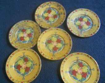 """Lot of 6 Antique Victorian Metal Plates w/Roses-Roses Border-6 1/4"""" Diameter--Could Be Used for Children's Toy Plates"""