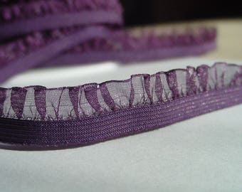 5 yards Chiffon Plum Wine elastic with ruffle trim to altered your fashion headband and lingerie designs