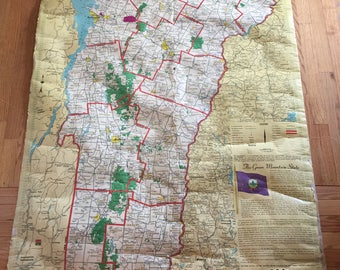 Tattered Vintage Clroom Wall Map Vermont Hearne Brothers Polyconic Map