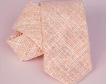 Peach linenetto linen textured neck tie standard or skinny