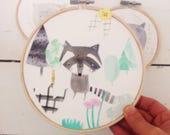Sad Racoon Original Collage Embroidery Hoop Wall Art