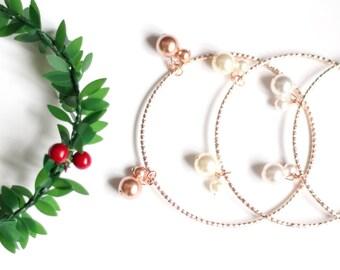 Bridal Pearl Bracelet, Rose Gold Plated Bangle, Pearl Bangle Bracelet, Pearl Bangle, Pearl Wedding Bangle,Rose gold or Ivory or White