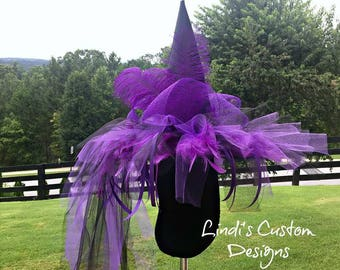 Purple Black Adult Witch Hat, Custom Halloween Witch Hat, Feather, Tulle, Mesh Halloween Witch Hat