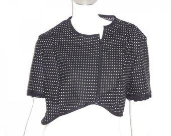 Short bolero Halter type wool black jacket