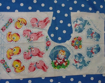 Vintage Vogart Fabric Appliques on Cotton, Childrens Bunny,Kitty,Duck+ Doll Clothes