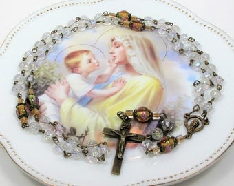 Rosary,Smoky White Glass Rosary,Antique Style Rosaries,Religious Gifts,Catholic Gifts,Confirmation Gifts,First Communion.Godmother's Gift
