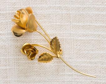Gold Rose Brooch Flower Bud Etched Metal Vintage Broach Pin 7YY 41